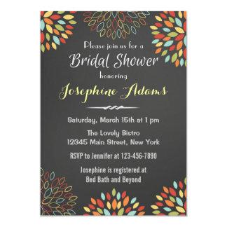 Rainbow Floral Chalkboard Bridal Shower Invitation