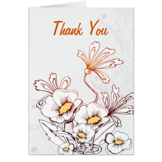 Rainbow Floral Flowers Thank You Card