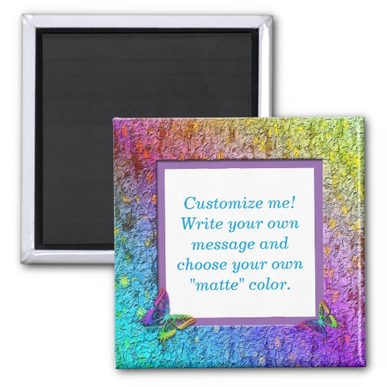 [Rainbow Floral Frame] Abstract w/Butterflies Magnet