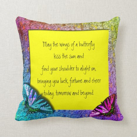 [Rainbow Floral Frame] Butterflies Yellow Throw Pillow