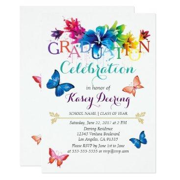 Beach Themed Rainbow Floral Graduation Celebration Invitation