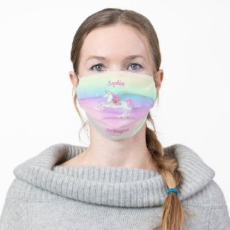 Rainbow Floral Magical Unicorn Personalized Cloth Face Mask
