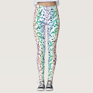 Rainbow Floral Music Notes Pattern Leggings