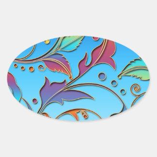 Rainbow Floral Oval Sticker