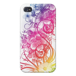 Rainbow Floral Pern ® Fitted™ Hard Shell C Case For iPhone 4