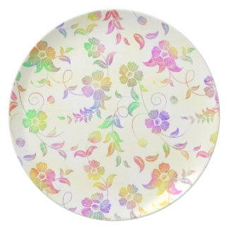 Rainbow Floral Plate