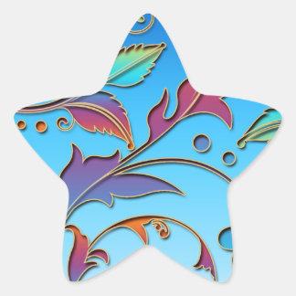 Rainbow Floral Star Sticker
