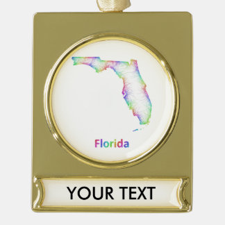Rainbow Florida map Gold Plated Banner Ornament