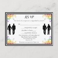 Rainbow Flourishes Gay Wedding RSVP Card