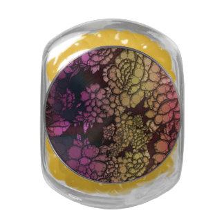Rainbow Flower Abstract Glass Jars