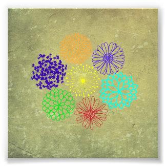 Rainbow Flower Art Deco Photo Print
