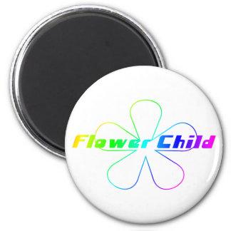 Rainbow Flower Child 2 Inch Round Magnet