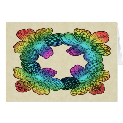 Rainbow Flower Doodle Greeting Card