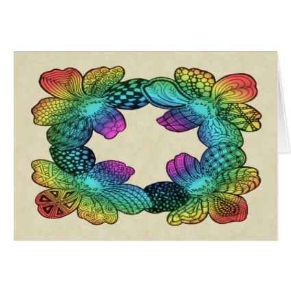 Rainbow Flower Doodle Greeting Card