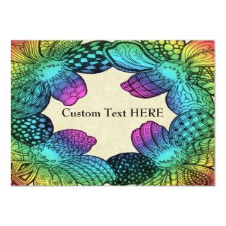 "Rainbow Flower Doodle 5"" X 7"" Invitation Card"