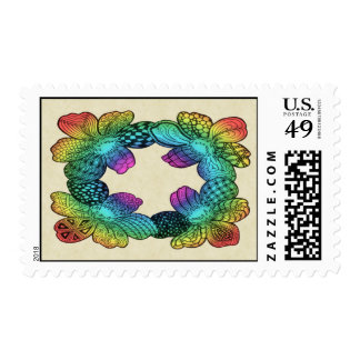 Rainbow Flower Doodle Postage