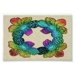 Rainbow Flower Doodle Poster