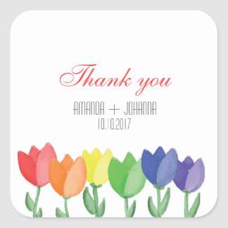 Rainbow FLOWER GAY Lesbian  Thank you favor Square Sticker