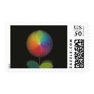Rainbow Flower Graphic Design on Black Postage