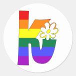Rainbow Flower Initials K Round Sticker