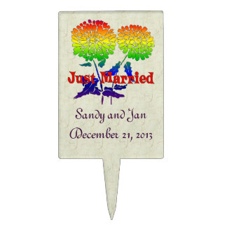 Rainbow Flower Marriage Cake Topper