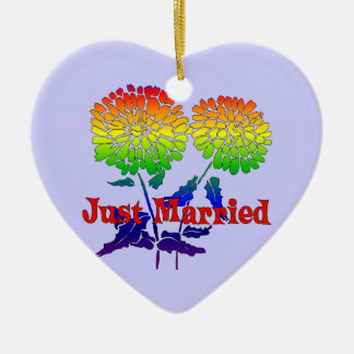 Rainbow Flower Marriage Ceramic Ornament