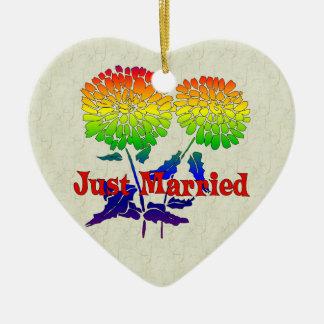 Rainbow Flower Marriage Ceramic Ornament