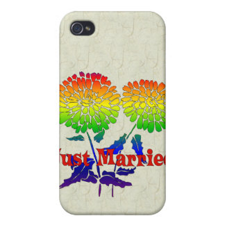 Rainbow Flower Marriage Cover For iPhone 4