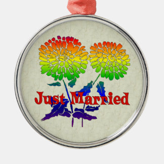 Rainbow Flower Marriage Metal Ornament