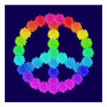 Rainbow Flower Peace Sign Poster