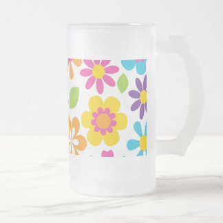 Rainbow Flower Power Hippie Retro Teens Gifts Frosted Glass Beer Mug
