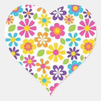 Rainbow Flower Power Hippie Retro Teens Gifts Heart Sticker