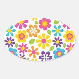 Rainbow Flower Power Hippie Retro Teens Gifts Oval Sticker