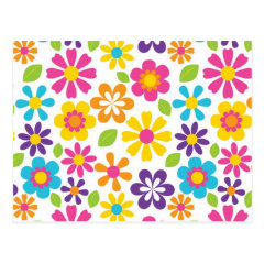 Rainbow Flower Power Hippie Retro Teens Gifts Postcard