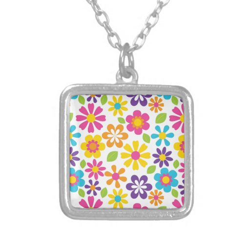 Rainbow Flower Power Hippie Retro Teens Gifts Square Pendant Necklace