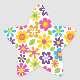 Rainbow Flower Power Hippie Retro Teens Gifts Star Sticker