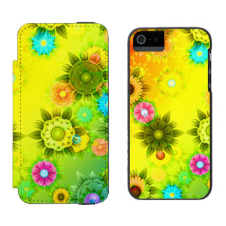 Rainbow Flower Power Wallet Case For iPhone SE/5/5s