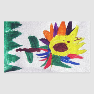Rainbow Flower Rectangular Sticker