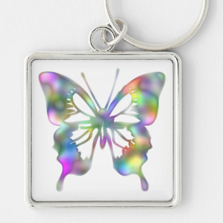 Rainbow Flower Silver-Colored Square Keychain