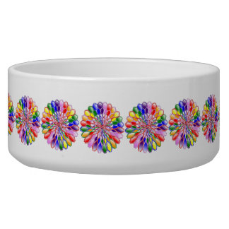 Rainbow Floweret Pet Dog Cat Ceramic Bowl Large