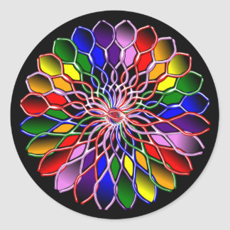Rainbow Floweret Stickers-20 per sheet Classic Round Sticker