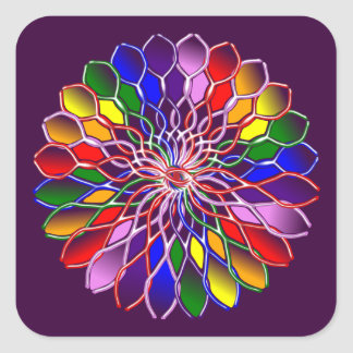 Rainbow Floweret Stickers-20 per sheet Square Square Sticker