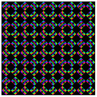 Rainbow Flowers. Bright Pattern on Black. Cut Outs