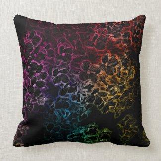 Rainbow Flowers on Black Pillow