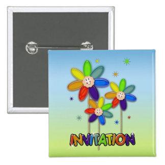 rainbow flowers pinback button