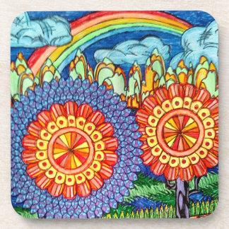 Rainbow flowers plastic coasters-set of 6 coaster
