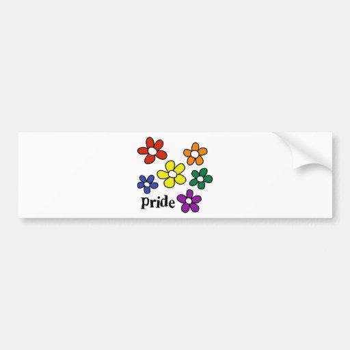 Rainbow Flowers Pride Car Bumper Sticker