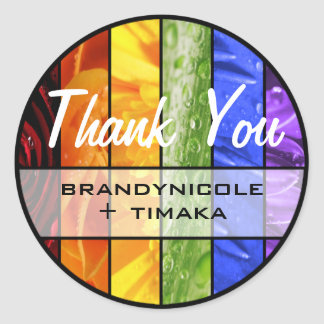 Rainbow Flowers Thank You Classic Round Sticker