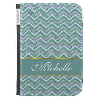 Rainbow Foil ZigZag Pattern Cases For Kindle
