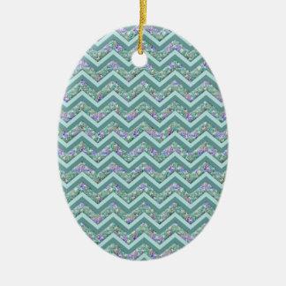 Rainbow Foil ZigZag Pattern Ceramic Ornament